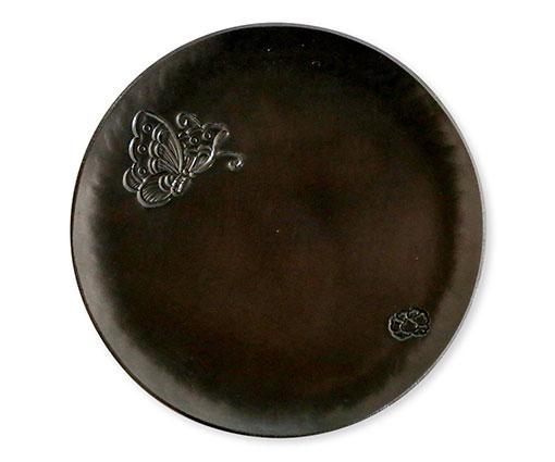 【商品名】彫金丸皿(蝶) 【寸法(mm)】W105×D105×H5